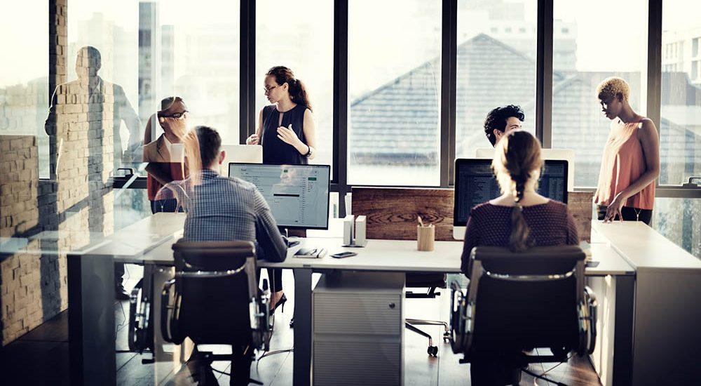 Team working in modern office