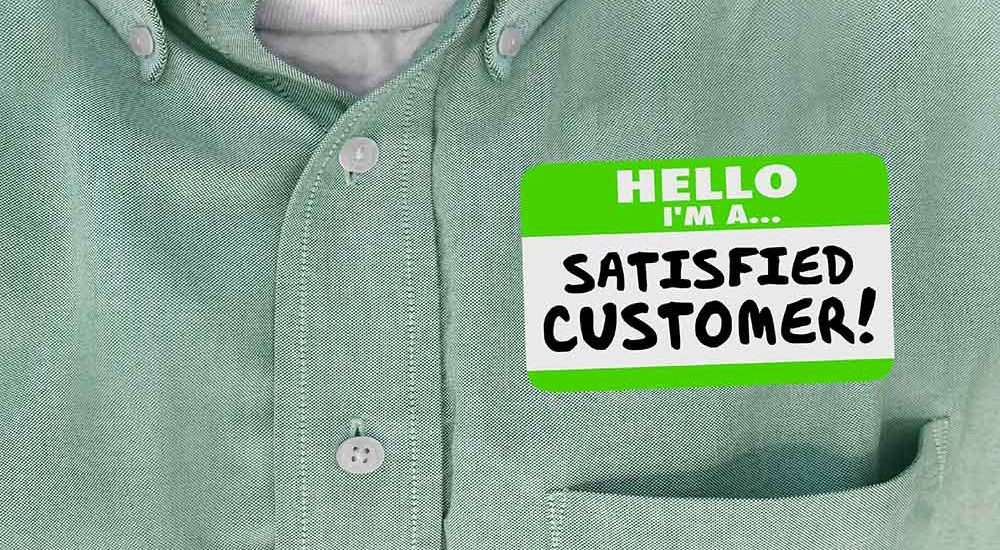 Satisfied customer label